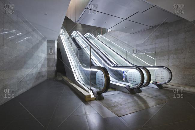Fuzhou, China-December 31, 2014: Underground elevator channel