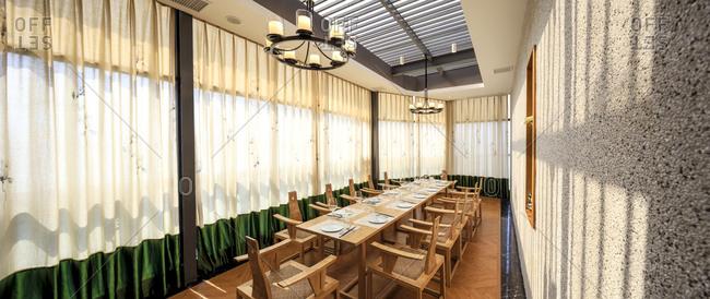 Long restaurant interior