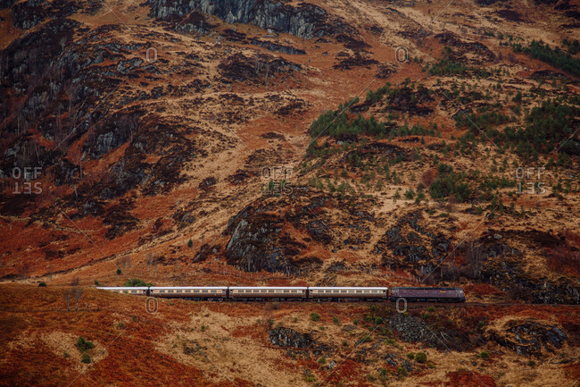 Train riding in mountains