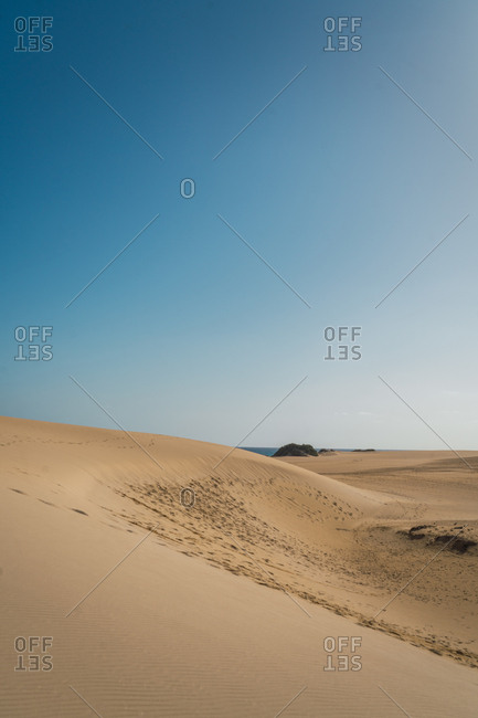 Landscape of endless golden sandy shoreline under boiling sun with line of ocean water on background.