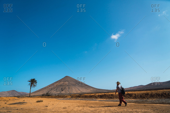 Man with backpack walking in tropical desert