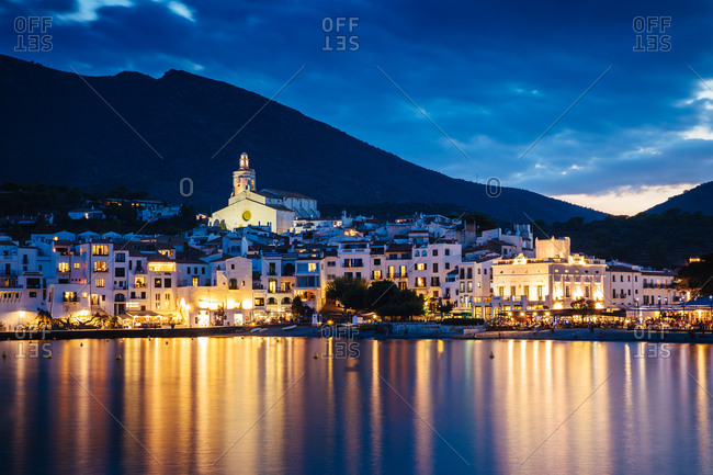 August 17, 2017: Village of Cadaques in the blue hour, Sapin