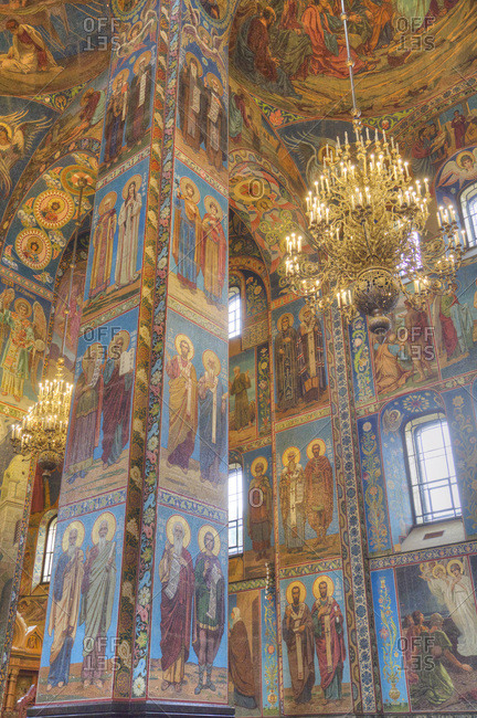 St. Petersburg, Russia, Europe - August 24, 2017: Wall frescos, Church on Spilled Blood (Resurrection Church of Our Saviour)