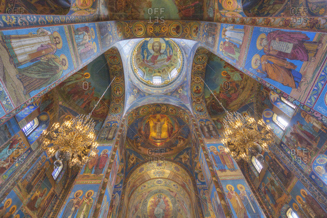 St. Petersburg, Russia, Europe - August 27, 2017: Ceiling and wall frescos, Church on Spilled Blood (Resurrection Church of Our Saviour)