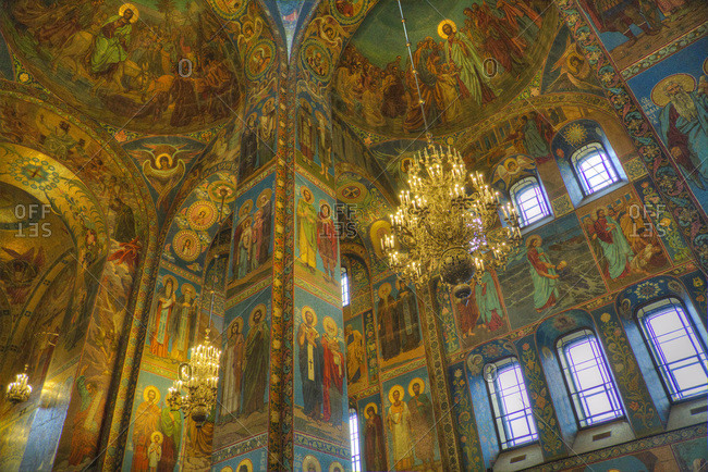 St. Petersburg, Russia, Europe - August 24, 2017: Ceiling and wall frescos, Church on Spilled Blood (Resurrection Church of Our Saviour)