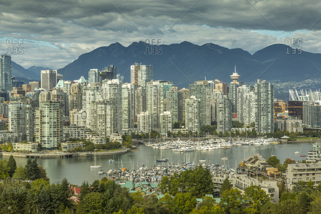 Vancouver, British Columbia, Canada, North America - September 21, 2017: View of Vancouver skyline as viewed from Mount Pleasant District