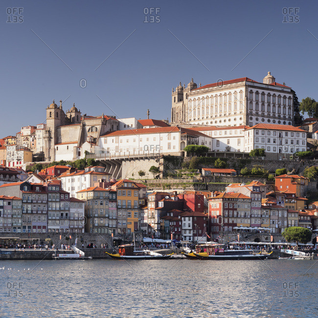 Porto (Oporto), Portugal, Europe - June 15, 2017: Ribeira District, UNESCO World Heritage Site, Se Cathedral, Palace of the Bishop