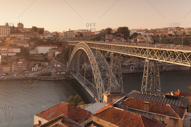 Douro River, Porto (Oporto), Portugal, Europe - June 15, 2017: Ponte Dom Luis I Bridge, UNESCO World Heritage Site