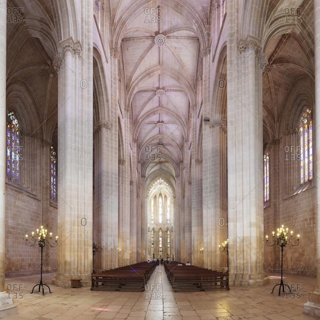 Batalha, Leiria, Portugal, Europe - June 14, 2017: Mosteiro da Santa Maria da Vitoria (Monastery of St. Mary of the Victory), UNESCO World Heritage Site