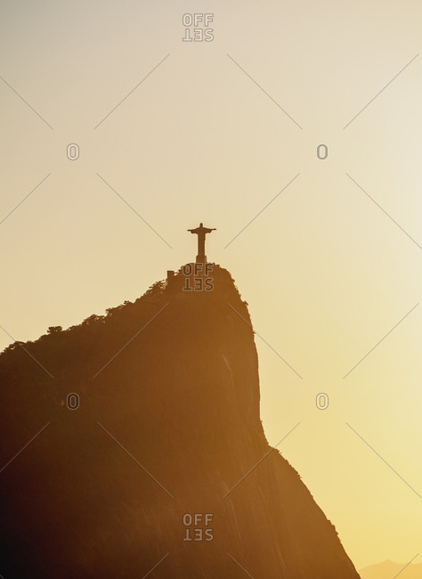 Rio de Janeiro, Brazil, South America - May 13, 2017: Christ the Redeemer and Corcovado Mountain at sunrise