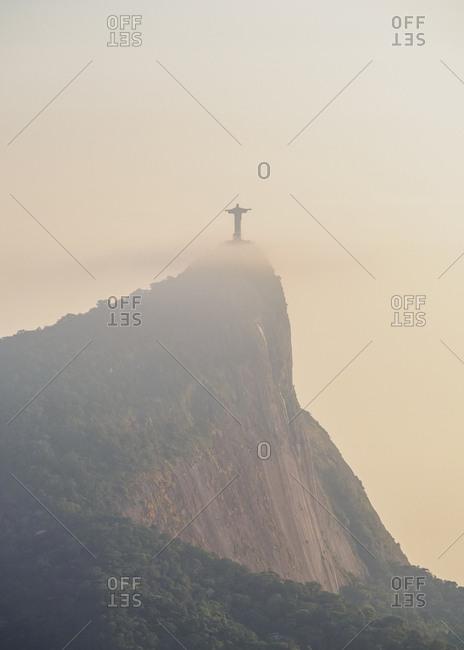 Rio de Janeiro, Brazil, South America - January 7, 2017: Christ the Redeemer and Corcovado Mountain at sunrise