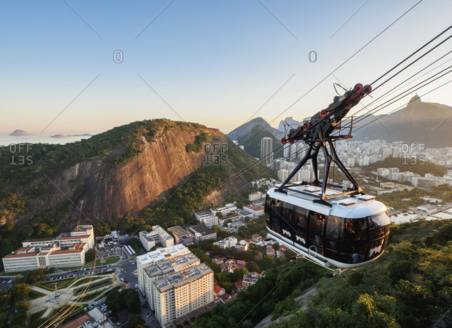 Rio de Janeiro, Brazil, South America - June 18, 2017: Cable Car to Morro da Urca and Sugarloaf Mountain at sunset