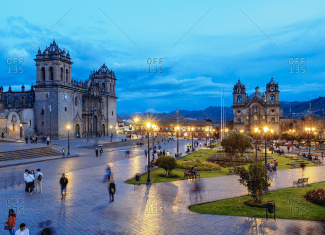 Old Town, Cusco, Peru, South America - February 11, 2017: Main Square at twilight, UNESCO World Heritage Site, Cusco, Peru, South America