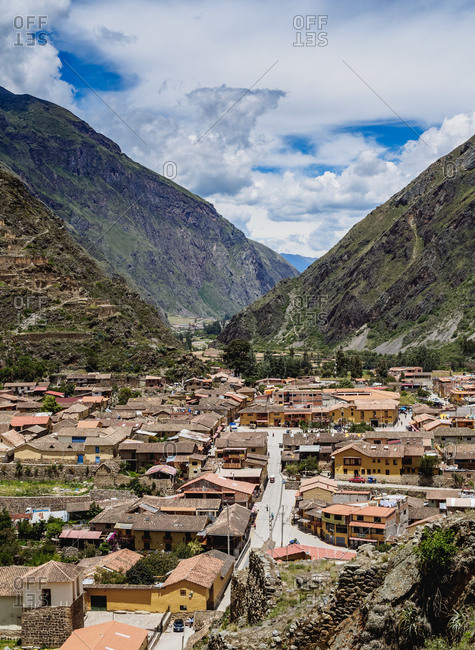 Sacred Valley, Cusco Region, Peru, South America - February 15, 2017: Ollantaytambo, elevated view