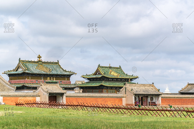 Harhorin, South Hangay province, Mongolia, Central Asia, Asia - August 18, 2017: Temples in Erdene Zuu Monastery