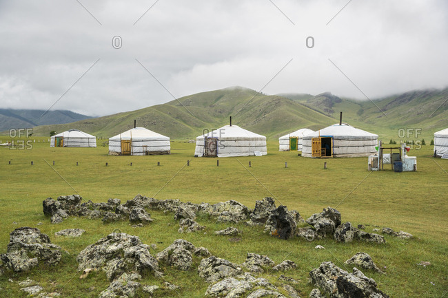 Orkhon valley, South Hangay province, Mongolia, Central Asia, Asia - August 19, 2017: Nomadic family ger camp