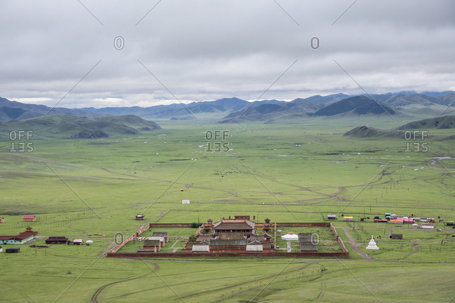 Mount Buren-Khaan, Baruunburen district, Selenge province, Mongolia, Central Asia, Asia - August 26, 2017: View of Amarbayasgalant Monastery from above