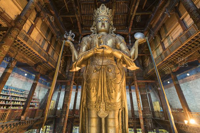 Ulan Bator, Mongolia, Central Asia, Asia - August 27, 2017: Avalokitesvara statue in Gandan monastery