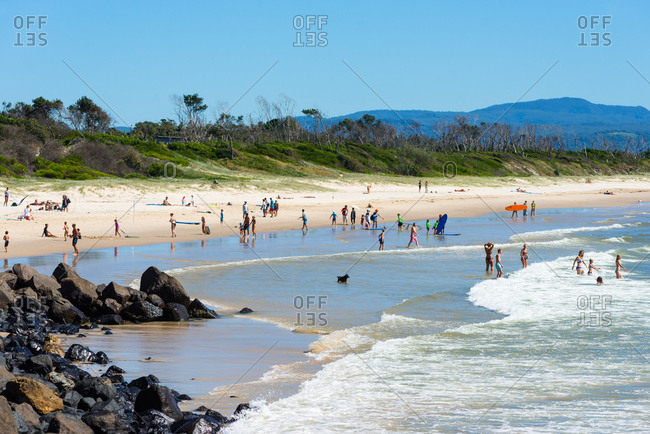 New South Wales, Australia, Pacific - April 11, 2017: Byron Bay Main beach