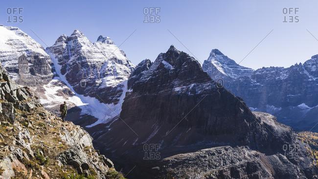 Yoho National Park, UNESCO World Heritage Site, British Columbia, Canadian Rockies, Canada, North America - September 28, 2017: Hiker on the Alpine Circuit Trail at Lake O'Hara