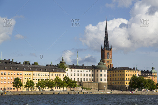 Waterfront with Riddarholmen Church in background, Gamla Stan, Stockholm, Sweden, Scandinavia, Europe