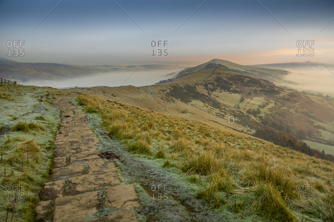 View from frosty Mam Tor of Hope Valley and Vale of Edale at sunrise, Castleton, Peak District National Park, Derbyshire, England, United Kingdom, Europe
