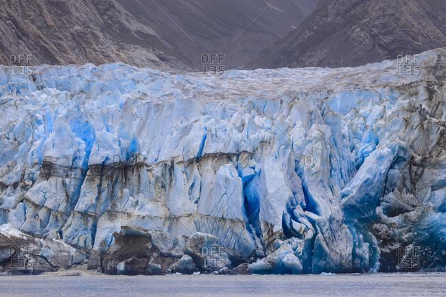 Blue ice face of Sawyer Glacier, Stikine Icefield, Tracy Arm Fjord, Alaska, United States of America, North America