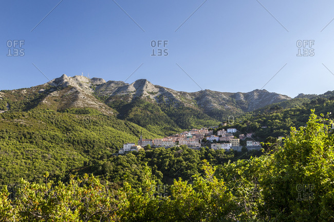 The village of San Piero in Campo at the foot of Monte Capanne, Elba Island, Livorno Province, Tuscany, Italy, Europe