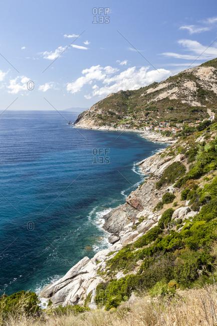 Cliffs on the blue sea, Pomonte, Marciana, Elba Island, Livorno Province, Tuscany, Italy, Europe