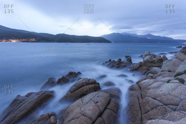 Blue sea at dusk, Marina di Campo, Elba Island, Livorno Province, Tuscany, Italy, Europe