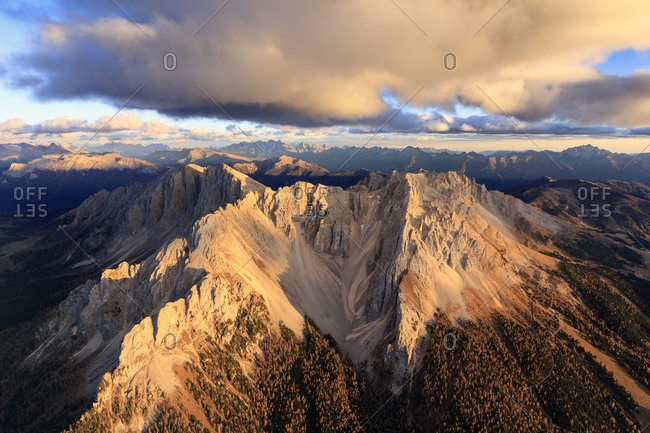 Aerial view of the rocky peaks of Latemar at sunset, Dolomites, South Tyrol, Italy, Europe