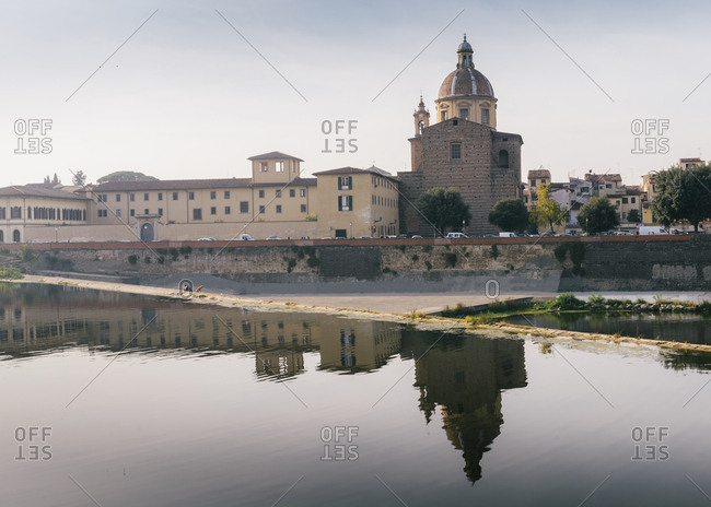 San Frediano in Cestello church with reflection on River Arno in Florence, Tuscany, Italy, Europe