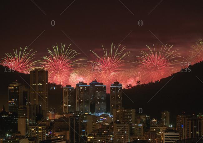 New Years Fireworks over Rio de Janeiro, Brazil, South America