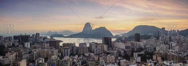 View over Botafogo towards the Sugarloaf Mountain at dawn, Rio de Janeiro, Brazil, South America