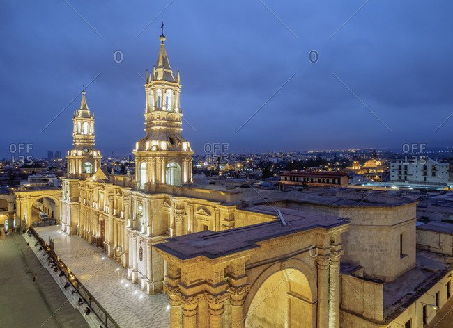Cathedral at twilight, Plaza de Armas, elevated view, Arequipa, Peru, South America