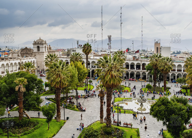 Plaza de Armas, elevated view, Arequipa, Peru, South America