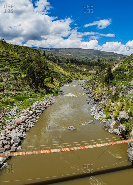 Suspension Bridge over Colca River, Chivay, Arequipa Region, Peru, South America