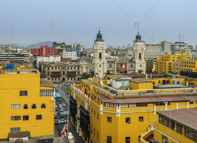 Old Town and Cathedral, elevated view, Lima, Peru, South America