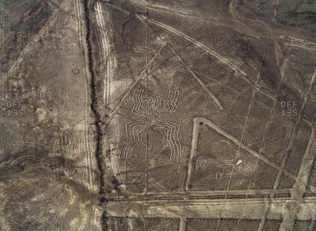 The Spider Geoglyph, aerial view, Nazca, UNESCO World Heritage Site, Ica Region, Peru, South America