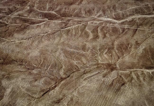 The Monkey Geoglyph, aerial view, Nazca, UNESCO World Heritage Site, Ica Region, Peru, South America