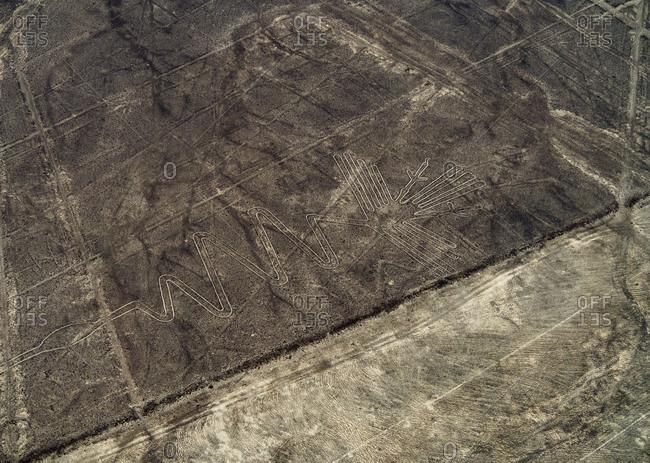 The Heron Geoglyph, aerial view, Nazca, UNESCO World Heritage Site, Ica Region, Peru, South America