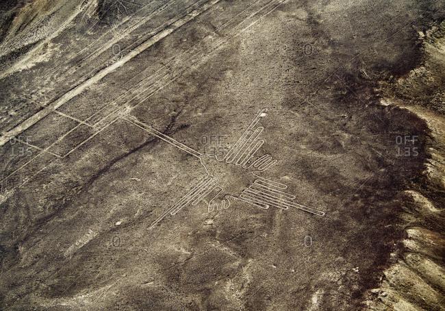 The Humming Bird Geoglyph, aerial view, Nazca, UNESCO World Heritage Site, Ica Region, Peru, South America