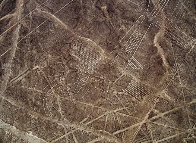 The Bird Geoglyph, aerial view, Nazca, UNESCO World Heritage Site, Ica Region, Peru, South America
