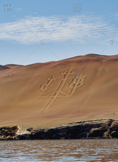 Candelabro de Paracas Geoglyph, Paracas National Reserve, Ica Region, Peru, South America