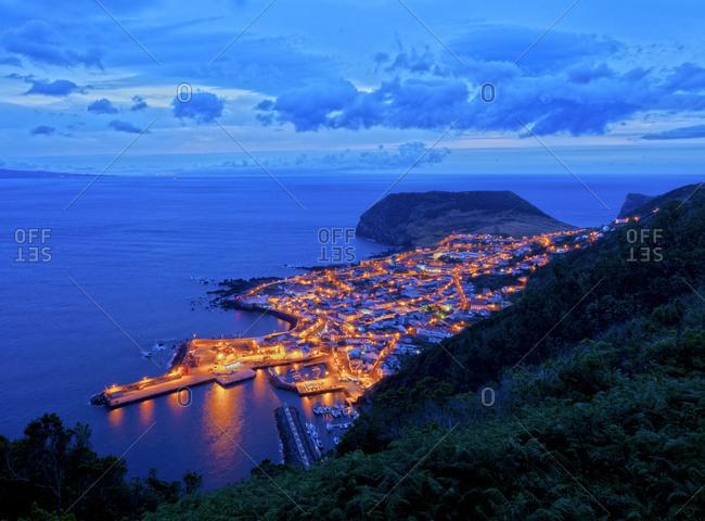 Velas at twilight, elevated view, Sao Jorge Island, Azores, Portugal, Atlantic, Europe