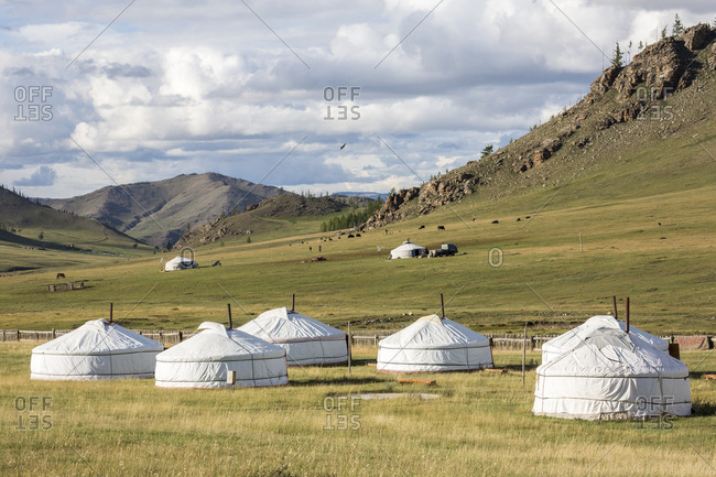 Tourist ger camp and Khangai mountains, Burentogtokh district, Hovsgol province, Mongolia, Central Asia, Asia