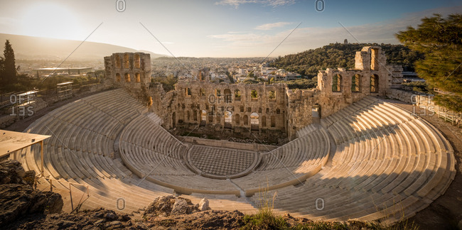 Panorama of the Odeon of Herodes Atticus on the Acropolis of Athens from the Top at Sunset