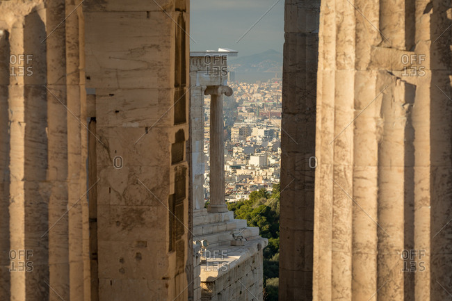 Columns of the Temple of Athena Nike on the Acropolis of Athens Set Against the Modern City