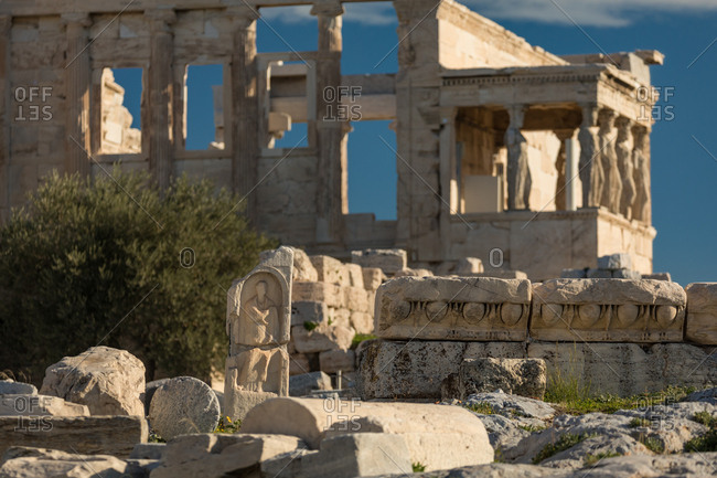 Ruins in Front of the Erechtheion and the Caryatids on the Acropolis of Athens