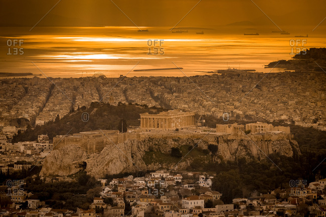 Aerial View of the Acropolis Hill, Athens and the Aegean Sea from Mount Lycabettus at Sunset